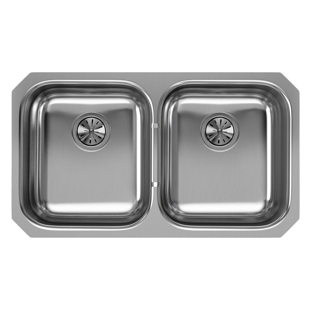 Elkay Undermount Stainless Steel 32 In. Double Bowl Kitchen Sink EGUH3118    The Home Depot