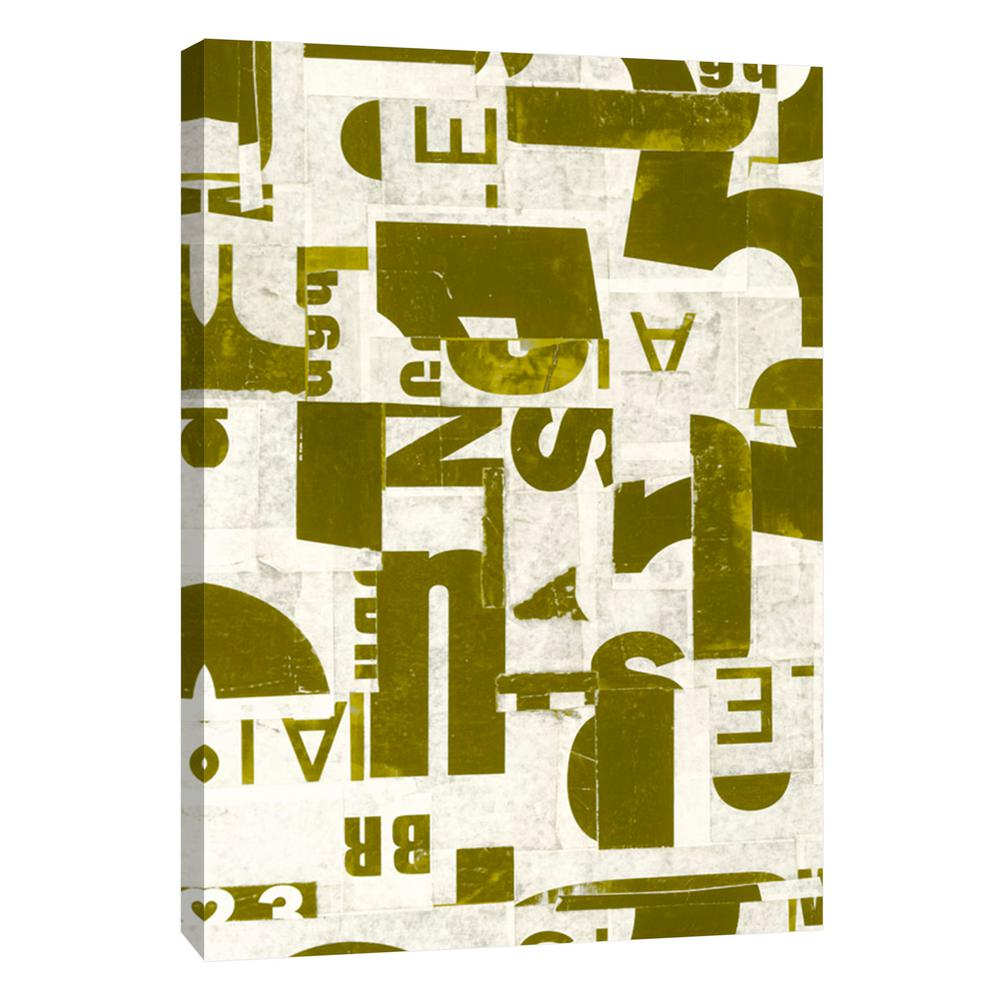 PTM Images 12.in x 10.in \'\'Collaged Letters Gold E\'\' Printed Canvas ...