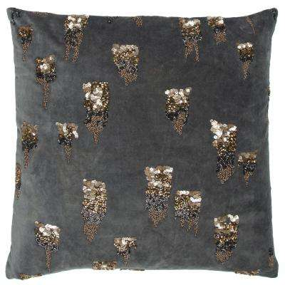 Hand Beaded 20 in. x 20 in. Grey Decorative Filled Pillow