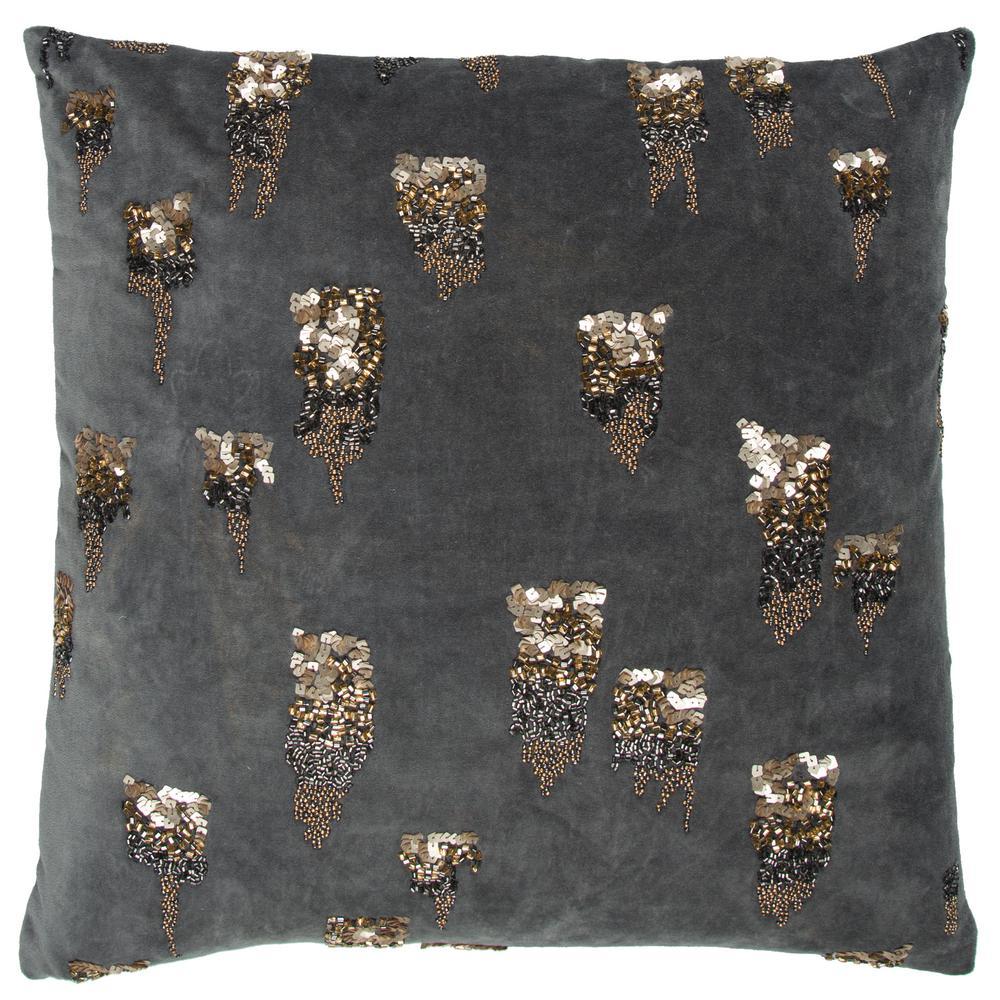 Grey Geometric Polyester 20 in. x 20 in. Throw Pillow