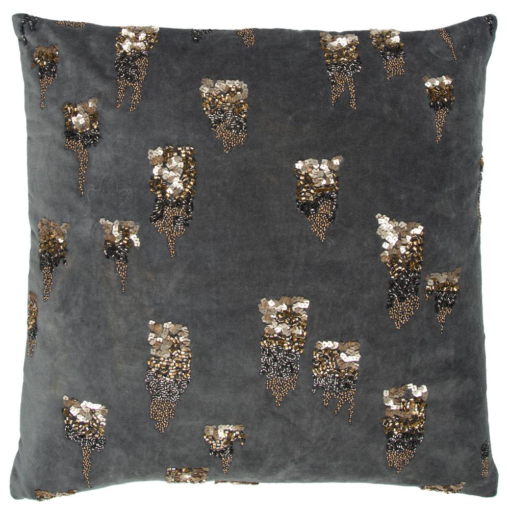 Donny Osmond Home Hand Beaded 20 in. x 20 in. Grey Decorative Filled Pillow-DOHT12341GY002020 ...
