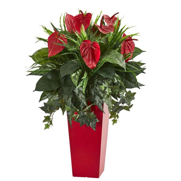 Nearly Natural Indoor Mixed Anthurium Artificial Plant in Red Planter