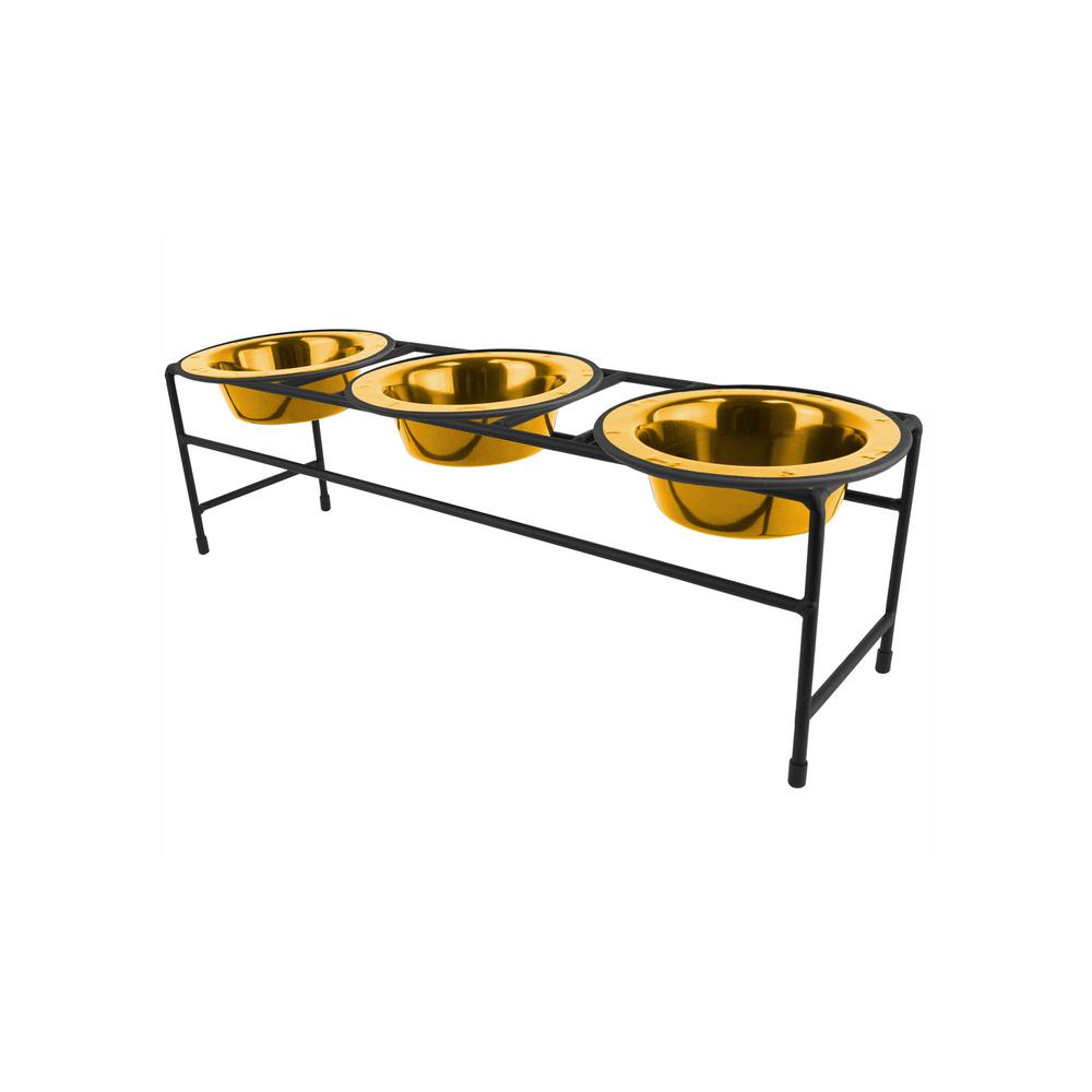 1.25 Cup Triple Modern Diner Feeder with Dog/Cat Bowls, 24K Gold