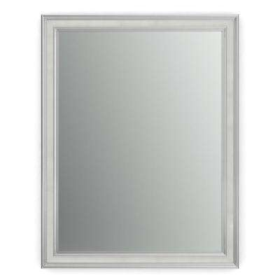 23 in. x 33 in. (S2) Rectangular Framed Mirror with Standard Glass and Float Mount Hardware in Chrome and Linen