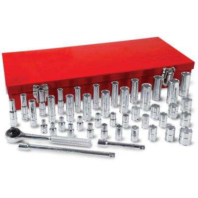 1/4 in. Drive 6-Point Standard & Metric Hand Socket Set (44-Piece)