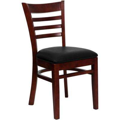 Hercules Series Mahogany Ladder Back Wooden Restaurant Chair with Black Vinyl Seat