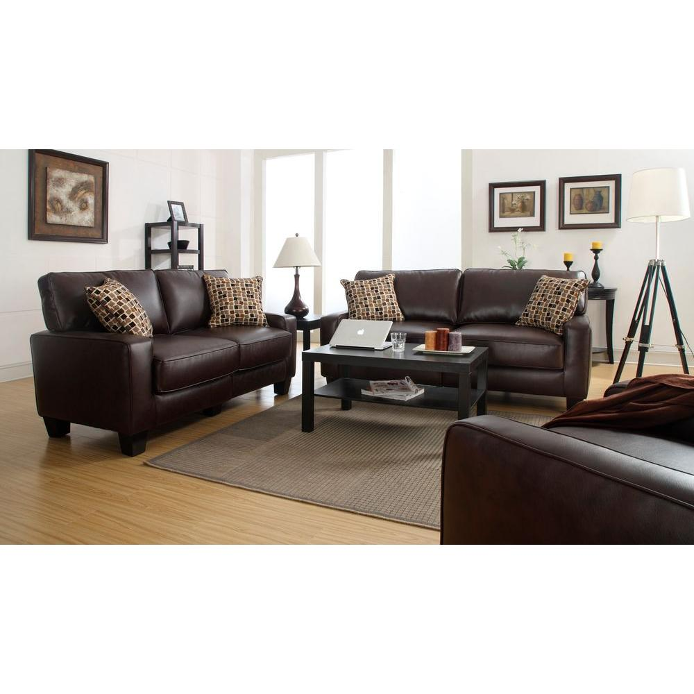 Serta Rta Monaco Biscuit Brown Espresso Faux Leather Sofa