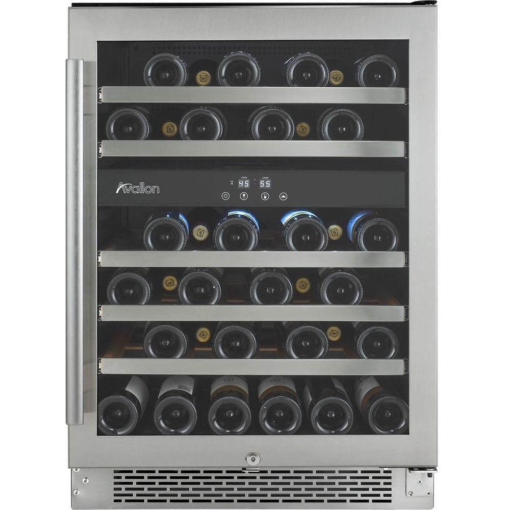 Avallon 46-Bottle Dual Temperature Zone Built-In Wine Cooler with Argon Filled Double Paned Glass