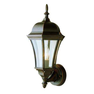 Cabernet Collection Outdoor Rust Coach Lantern with Clear Curved Shade