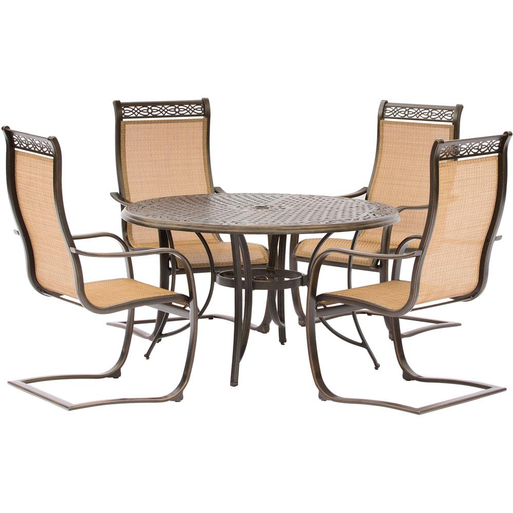 Hanover manor 5 piece aluminum round outdoor dining set for Metal patio table and 4 chairs