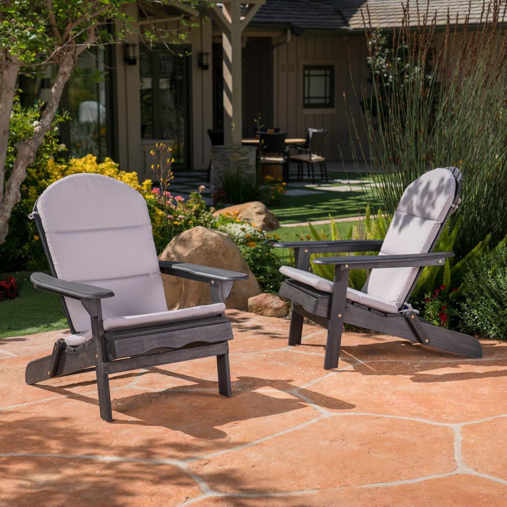 Malibu Gray Outdoor Adirondack Chair Cushion (2-Pack)