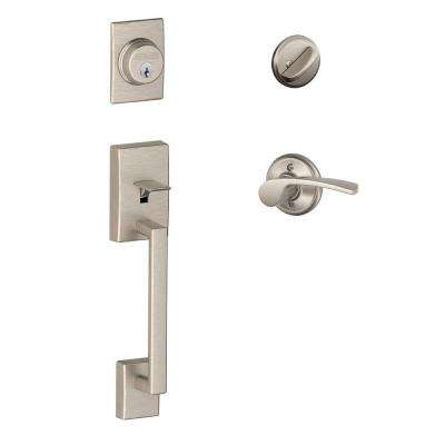 Century Satin Nickel Single Cylinder Deadbolt with Left Handed Merano Lever Door Handleset