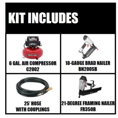 6 gal. 150 PSI Portable Electric Air Compressor and 18-Gauge Brad Nailer Combo Kit (1-Tool) with Bonus Framing Nailer