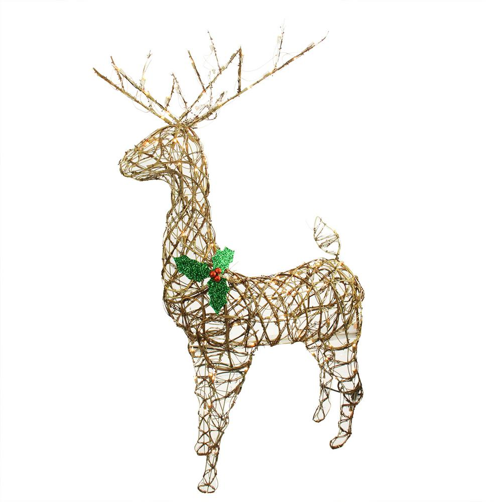Northlight 57 In Christmas Lighted Standing Grapevine Reindeer Outdoor Decoration And Clear Lights
