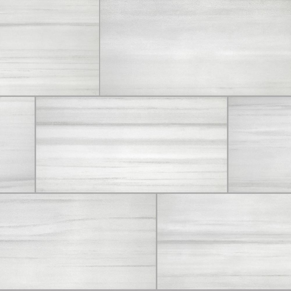 Milano Lasa White Rectified 12 in. x 24 in. Porcelain Floor