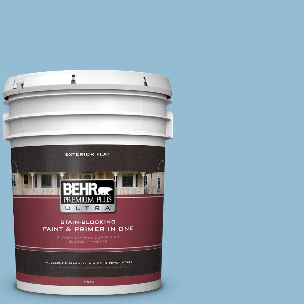 5 gal. #M500-3 Blue Chalk Color Flat Exterior Paint