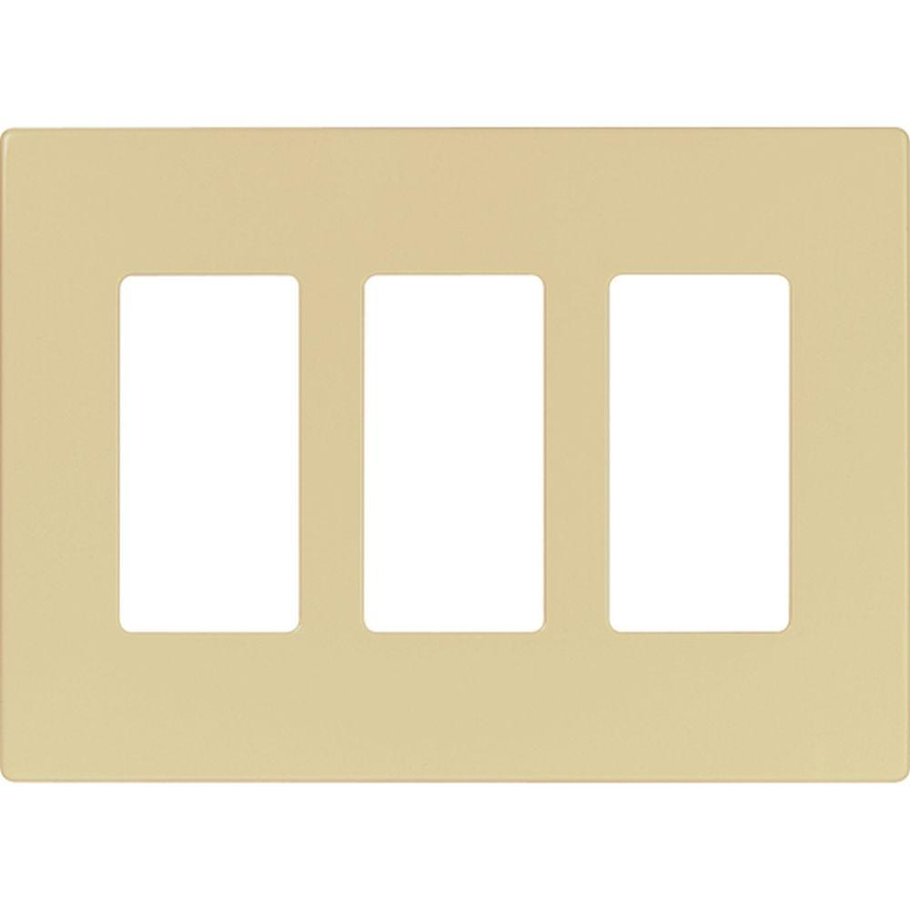 Eaton 3-Gang Screwless Decorator Polycarbonate Wall Plate, Ivory ...