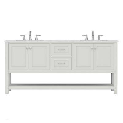 Wilmington 72 in. W x 34.2 in. H x 22 in. D Bath Vanity in White with Marble Vanity Top with White Basin