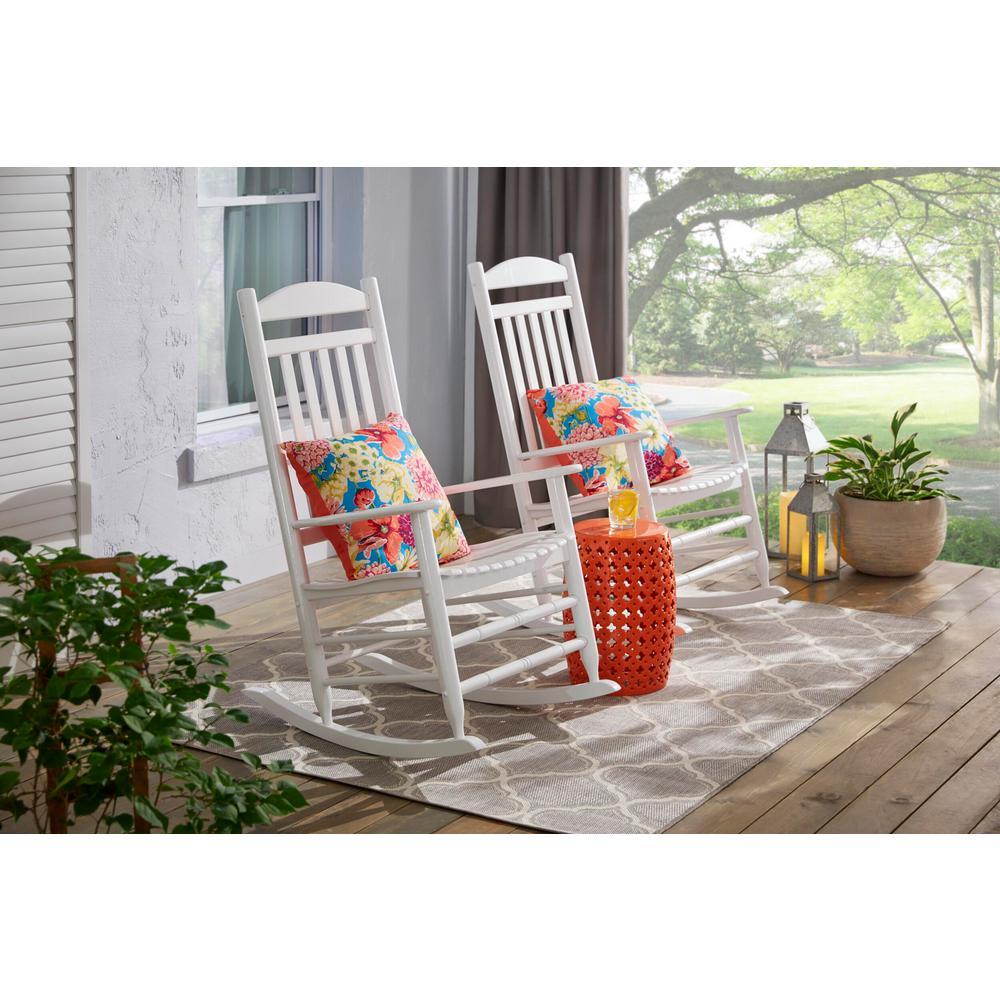 Sunjoy White Wood Outdoor Rocking Chair