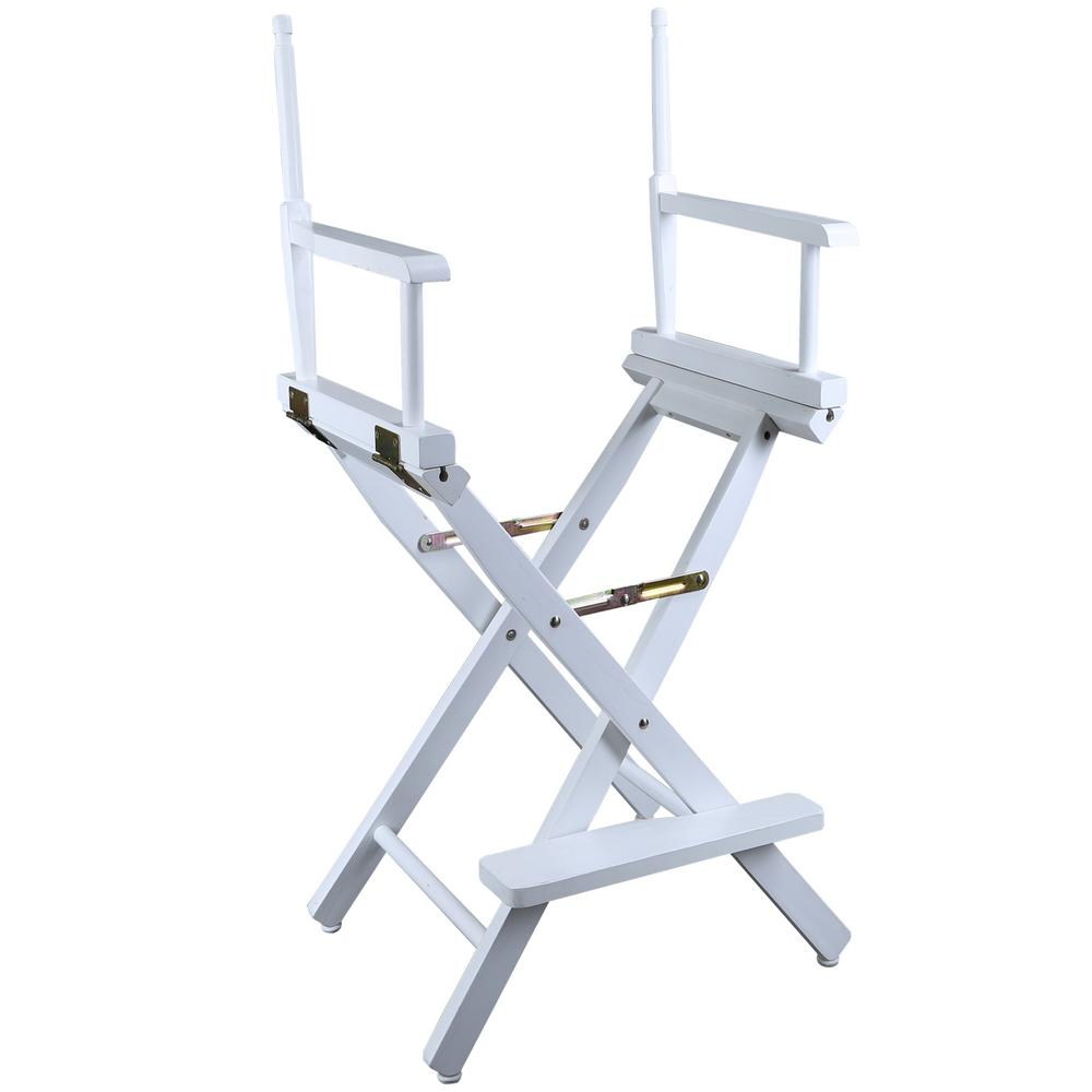 Directoru0027s Chair White Solid Wood Frame