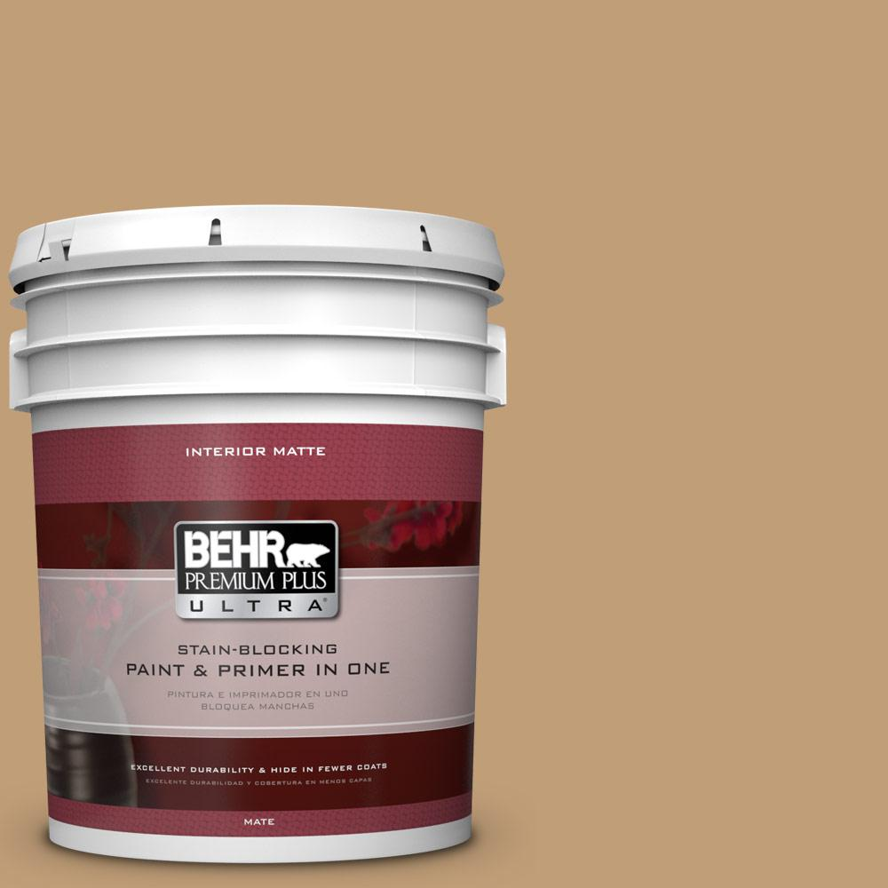 BEHR Premium Plus Ultra 5 gal. #300F-4 Almond Toast Flat/Matte Interior Paint
