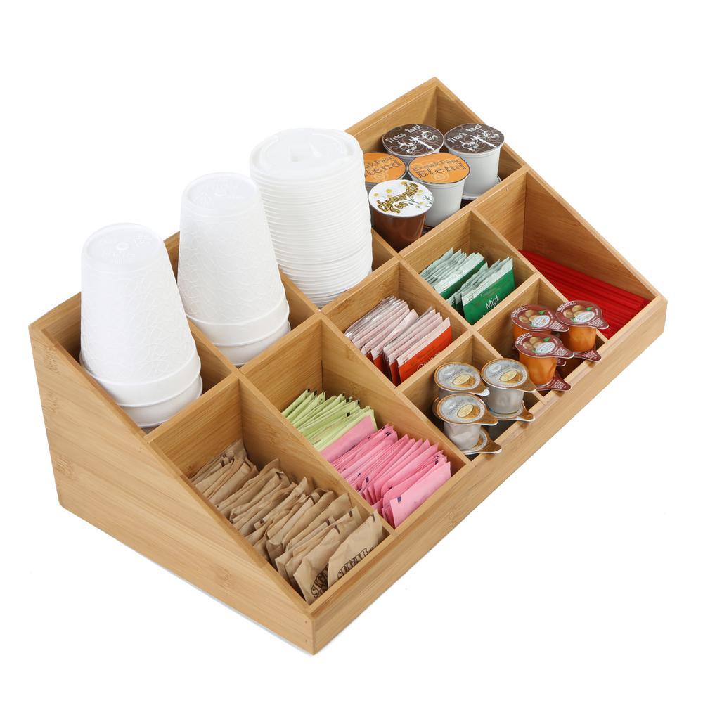 11-Compartment Breakroom Coffee Condiment Organizer, Brown