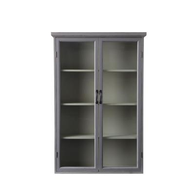 Distressed Grey Wood Cabinet with Glass Doors and 4-Shelves