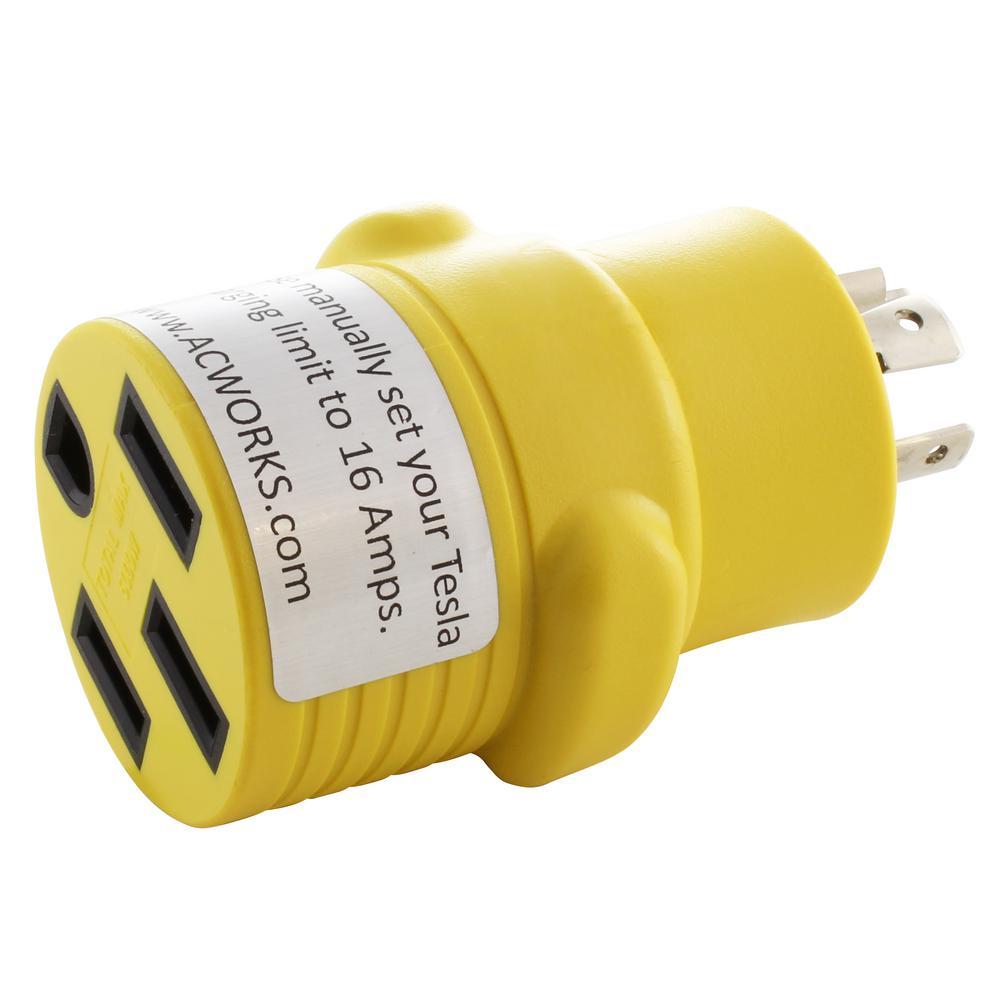 RV Generator Adapter 20 Amp 4-Prong NEMA L14-20P Plug to 50 Amp NEMA 14-50R RV/ EV/ Range Connector
