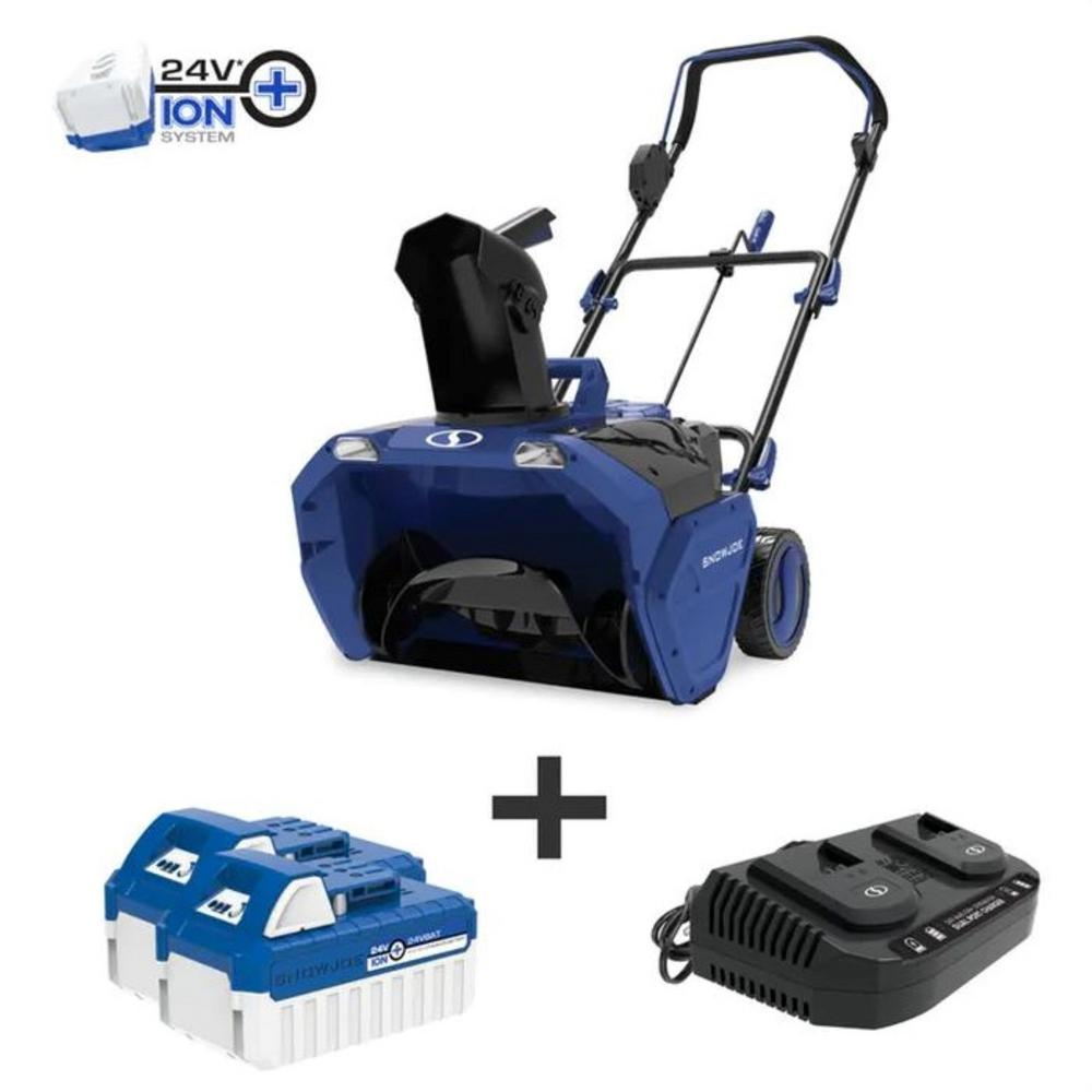 Snow Joe 20 in. 48-Volt Cordless Electric Snow Blower Kit with 2 x 4.0 Ah Batteries Plus Charger