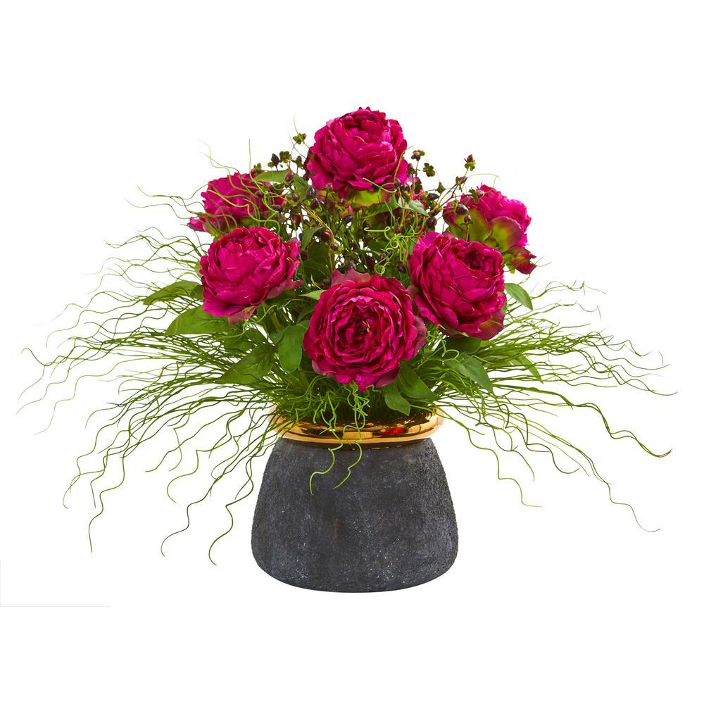 21 in. Peony and Grass Artificial Arrangement in Designer Vase