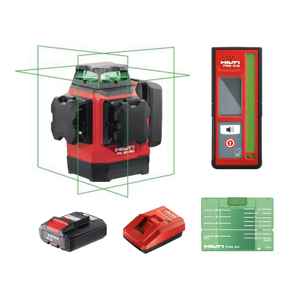 Hilti PM 30-MG 131 ft. Multi-Green Laser and Receiver Kit Complete with Receiver, Battery and Charger