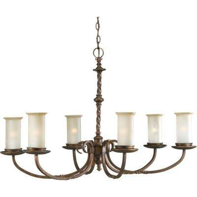 Santiago Collection 6-Light Roasted Java Chandelier with Jasmine Mist Glass