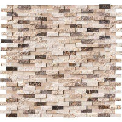 Emperador Blend Split Face 12 in. x 12 in. x 10 mm Marble Mesh-Mounted Mosaic Wall Tile (10 sq. ft. / case)