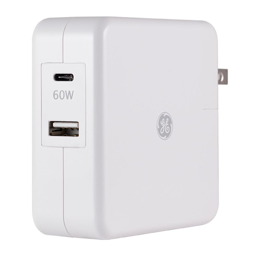 GE USB-C Laptop Charr with Standard USB-A Port, White GE USB-C Laptop Charr with Standard USB-A Port, White