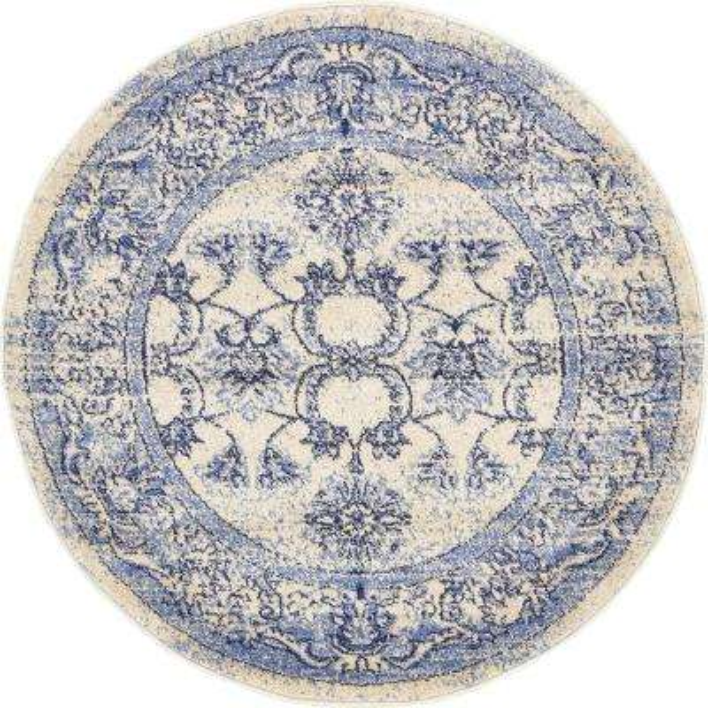 La Jolla Botanica Blue 3' 3 x 3' 3 Round Rug