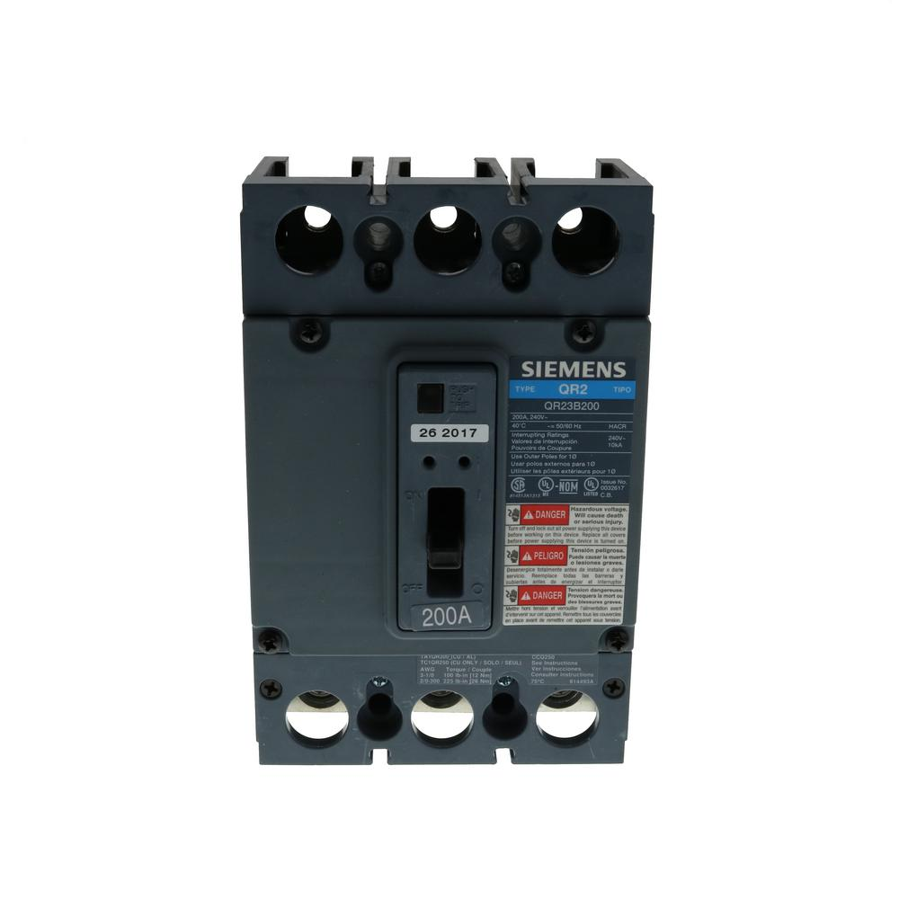siemens 200 amp double pole type qn 22ka circuit breaker qn2200h the home depot. Black Bedroom Furniture Sets. Home Design Ideas