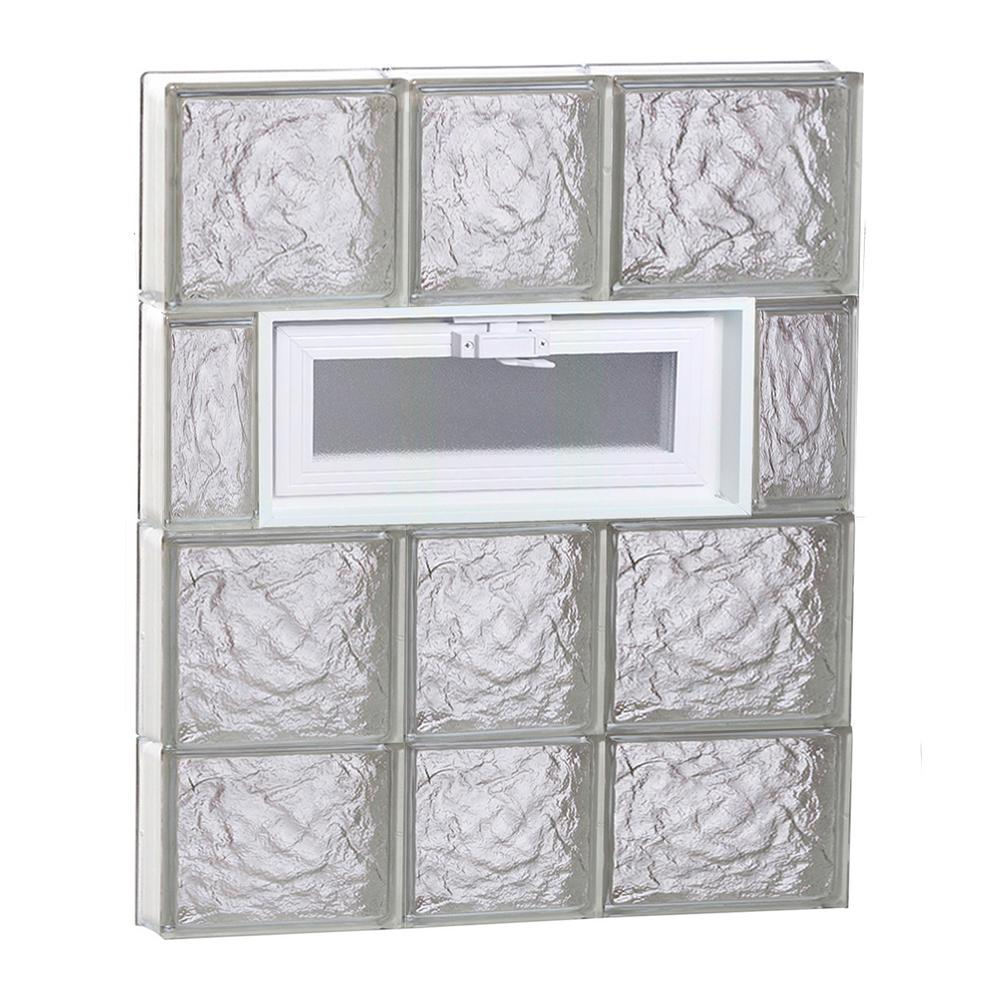 Clearly Secure 21.25 in. x 29 in. x 3.125 in. Frameless Ice Pattern Vented Glass Block Window