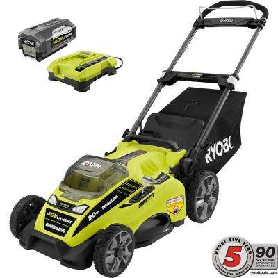 20 in. 40-Volt Brushless Lithium-Ion Cordless Battery Walk Behind Push Lawn Mower - 5.0 Ah Battery/Charger Included