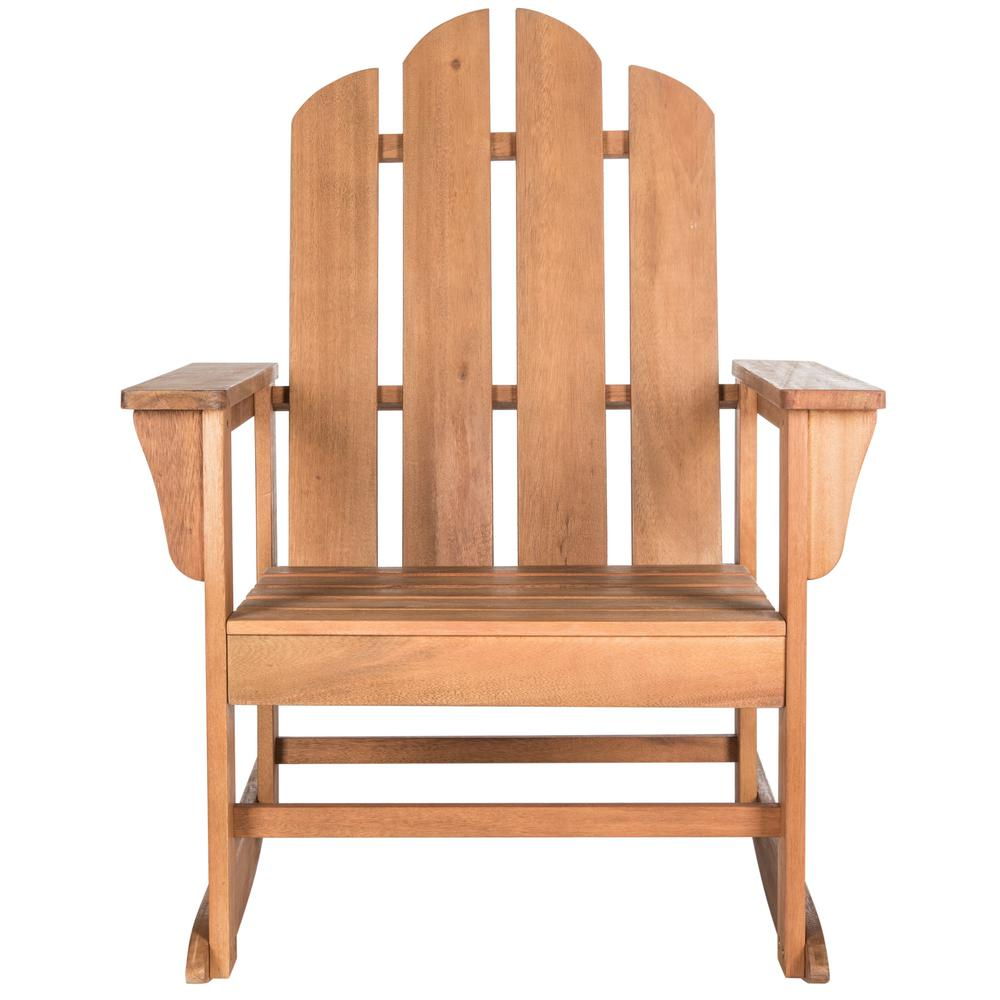 Safavieh Moreno Natural Brown Wood Outdoor Rocking Chair Pat7023c The Home Depot
