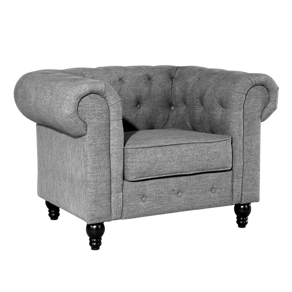 Charmant Poly And Bark Hendrick Gray Chesterfield Armchair