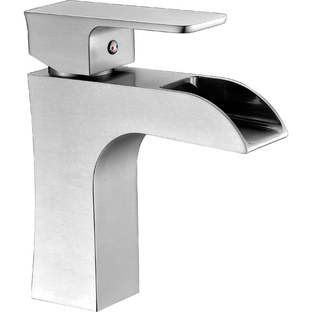 ANZZI Forza Series Single Hole Single-Handle Low-Arc Bathroom Faucet in Brushed Nickel
