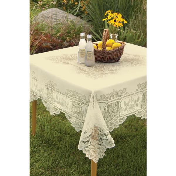 Heritage Lace Heirloom Square ECRU Polyester Tablecloth HL-5858E