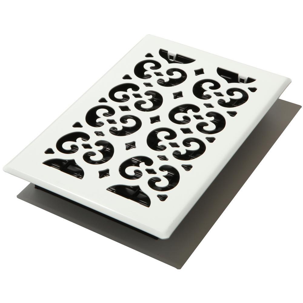 Decor Grates 6x10 Scroll White Floor Register