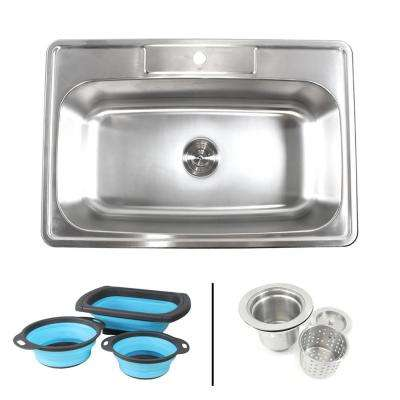 Topmount Drop-In 18-Gauge Stainless Steel 33 in. 1 Faucet Hole Single Bowl Kitchen Sink w/Collapsible Silicone Colanders