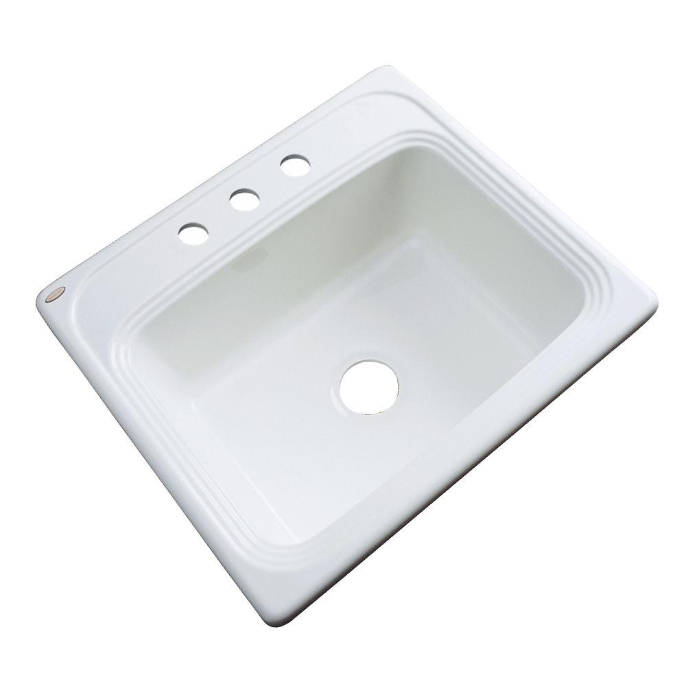Thermocast Wellington Drop-In Acrylic 25 3-Hole Single Bowl Kitchen Sink in White