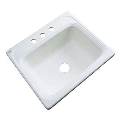 Wellington Drop-In Acrylic 25.in 3-Hole Single Bowl Kitchen Sink in White
