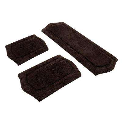 22 in. x 60 in., 21 in. x 34 in. and 17 in. x 24 in. 3-Piece Paradise Memory Foam Bath Rug Set in Chocolate