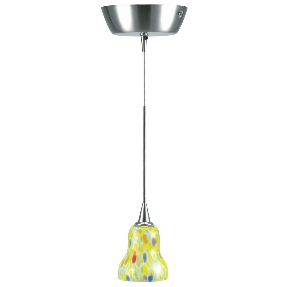 1-Light Polished Steel Pendant with Yellow Glass