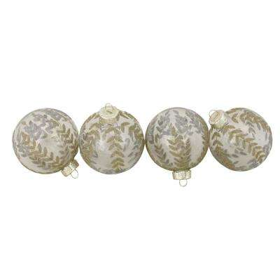 3.25 in. Clear with Gold and Silver Leaf Design Glass Ball Christmas Ornaments (4-Count)