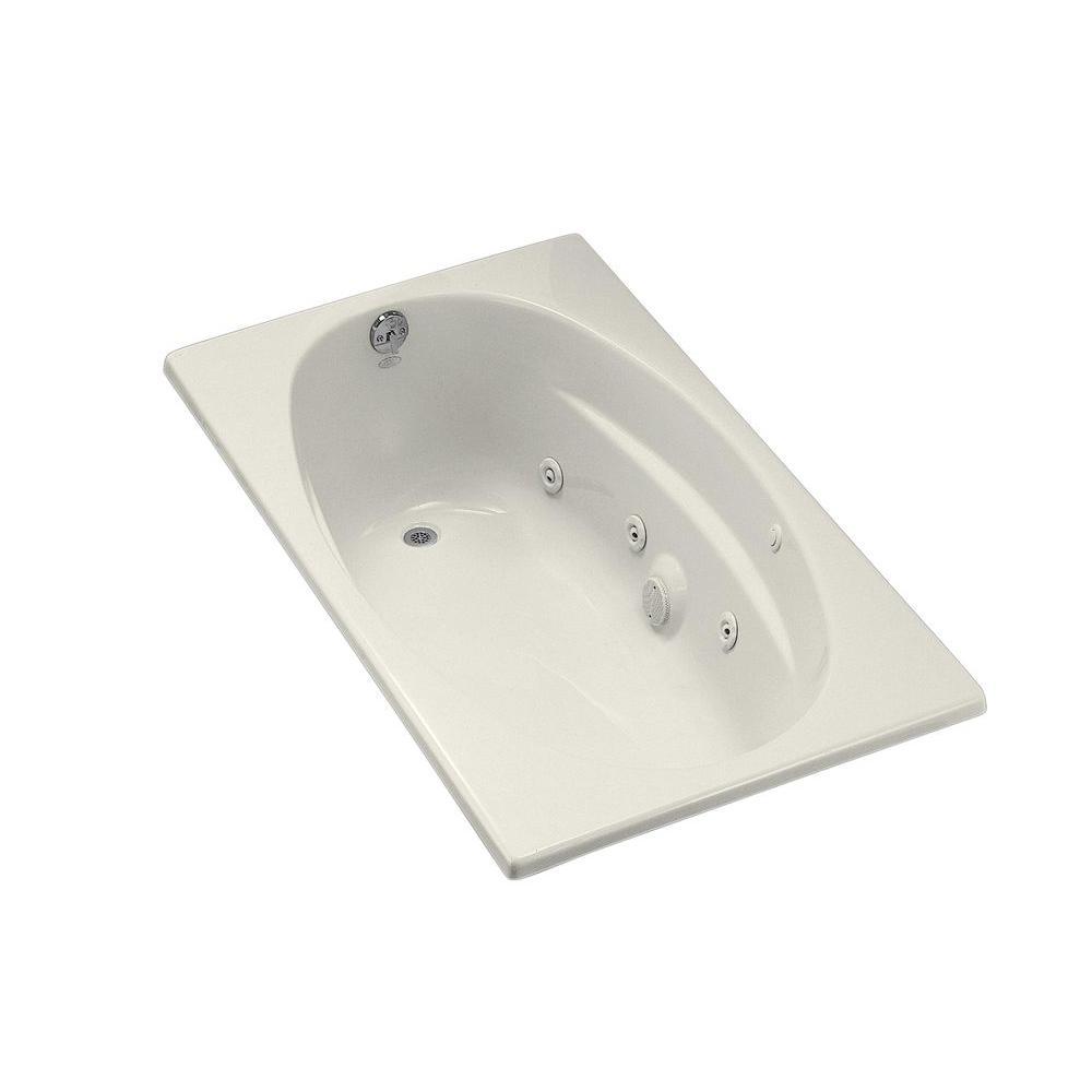 KOHLER ProFlex 6036 5 ft. Acrylic Oval Drop-in Whirlpool Bathtub in Biscuit